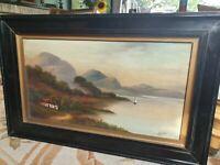 Antique Signed Oil On Board H Burton In Ebonised Frame