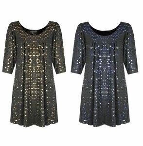 Womens Sparkling Sequin Scoop Neck Dress Ladies 3/4 Sleeve Glitter Tunic Top
