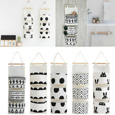US_ 3 Pockets Door Wall Hanging Storage Pouch Bag Home Closet Sundries Organizer