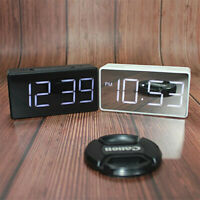 Digital LED Mirror Alarm Clocks Temperature Time Display Room Bedside Table
