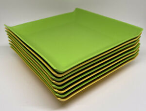 "Set Of 8 Crate&Barrel Coza Plates 6.5"" Square Plastic Green And Yellow"