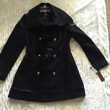 MYSTIC BLACK WOOL RAYON BLEND BUTTON FRONT COAT PEACOAT JACKET SIze Med women's