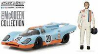 GREENLIGHT 86435 PORSCHE 917K with Steve McQueen Gulf Oil racing figurine 1:43rd
