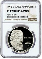 1993-S James Madison $1 Proof Silver Commemorative Coin PF69 Ultra Cameo NGC