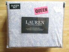 Ralph Lauren QUEEN SHEET SET Cotton Sateen Dunham $105 RV White Blue Paisley