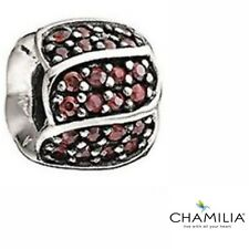 Genuine Chamilia silver 925 red jewelled petals bracelet charm 2025-0620