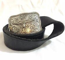 Long Horn Buckle 1995 Western Large Vintage Guess Black Genuine Leather Belt