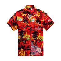 Men Tropical Hawaiian Aloha Shirt Cruise Luau Beach Party Red Scenic View Palm