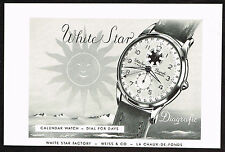1950s Vintage 1952 Weiss White Star Diagrafic Calendar Swiss Watch Print Ad