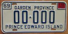 Prince Edward Island 1970 SAMPLE License Plate # 00-000