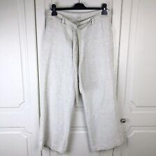 Laura Ashley Beige Heavyweight Linen Wide Leg Trousers Size 12 VGC