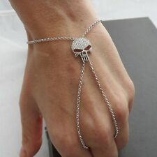 Hand Chain Bracelet with Adjustable Skull Ring - 925 Sterling Silver Slave NEW