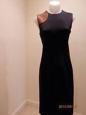 NWOT RALPH LAUREN BLACK LABEL SHEATH DRESS,STRETCH W/ LEATHER DETAIL,NAVY.8