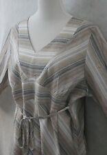 Fashion Bug Multi Color Poly Blend Crepe Blouse Top w/ Waist Tie EUC 22 / 24 W