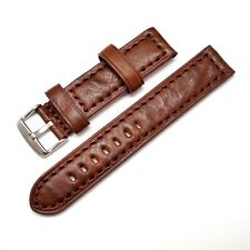 20mm Italian Brown Wrinkling Beauty Leather Watch Band With 2 Spring Bar