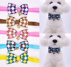 Pet Dog Cat Bowties Grid with Bell Dog Bow Ties Pet Collar Adjustable Bowties