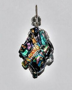 Royal Rainbow Wire Wrap Dichroic Glass Pendant By L Morris