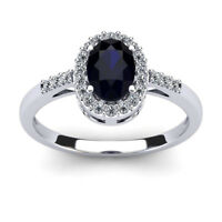 14K WHITE GOLD 1.12CT SAPPHIRE AND DIAMOND HALO RING, SIZE-7, 8, 9