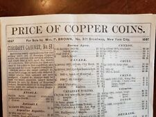 Vintage RARE Copper Coin Price Guide c. 1897 of coins for sale by Wm. P. Brown