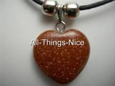 Goldstone piedras preciosas de 20mm de energía amor corazón colgante collar de la joyería de moda
