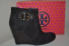 $350+ NEW Tory Burch ADRIENNE Brown Suede Leather Ankle Wedge Bootie Boots 10.5