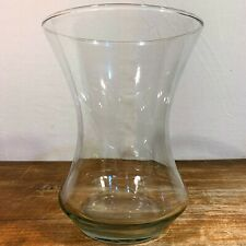 """Clear GLASS 8"""" Tall 6-1/8"""" Flared Cylinder VASE Cinch Waist Flower Bouquet Large"""