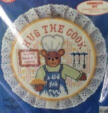 "Colortex Stamped Cross Stitch Complete Kit ""Hug The Cook"" Wood Hoop #5709"
