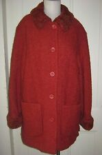 JC John Caruana Wool Faux Fur Boucle Dress Coat Womens sz 12 Burnt Orange Rust