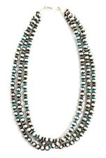 Native American Sterling Silver Pearls  NavajoOld Look Turquoise Silver Beads