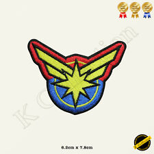 Captain Marvel Super Hero Embroidered Iron On/Sew On Patch/Badge For Clothes