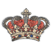 Sequin Crown Iron-On Patches Badge Applique Sticker DIY Embroidery  Sewing Craft