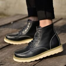Retro Mens Lace Up Leather Mototcycle Punk Fur Lined Military Riding Ankle Boots