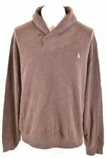 POLO RALPH LAUREN Mens Shawl Neck Jumper Sweater 2XL Brown Cotton  GF17