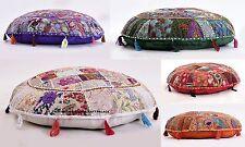 5 PC Lot Indian Handmade Floor Round Decorative Pillow Vintage Patchwork Cushion