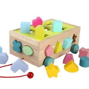 Kids Wooden Block Number Shape Pull Along Car Vehicle Toy Shape Sorter Play AU