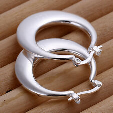 Solid Silver Jewelry Cool Thick Fat Big Belly Moon Women Earrings Hoop EP077