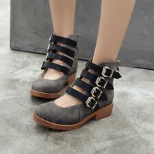 Womens Retro Ankle Strap Boots Round Toe Low Heels Casual Hollow Lady Shoe Roman