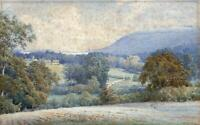 ELLIOT HENRY MARTEN Antique Watercolour Painting CISSBURY LANDSCAPE c1900