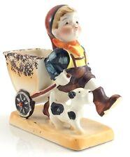 1940s Vintage Occupied Japan Little Boy Pulling Wagon Dog Ceramic Figure J370