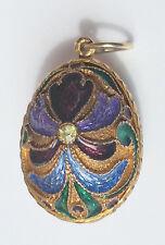Antique Cloisonne 7.6gr Russian Sterling Silver Vermeil Egg Pendant 925
