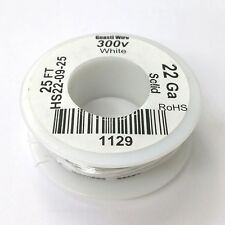 HS22-09-25 ~ 22AWG WHITE PVC Insulated SOLID 300 Volt Hook-Up Wire 25' Roll