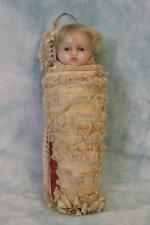 "11""  Antique English Poured Wax Child Doll in Swaddling Clothes circa 1871 NICE!"