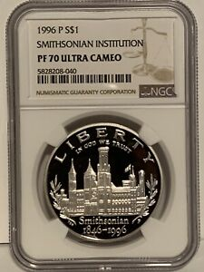 1996-P NGC PF70 Smithsonian Proof Commemorative Silver Dollar Coin