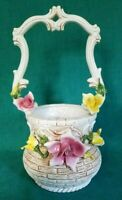 """Vintage Large Capodimonte Roses Basket - 16"""" Tall - Made in Italy - Beautiful!!"""