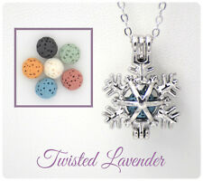 Snowflake Aromatherapy Essential Oil Necklace Diffuser with 6 lava stones!