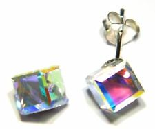 Sterling silver stud earrings Austrian crystal cube square design