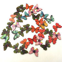 Beauty 50PCs Crafts 2 Holes Mixed Butterfly Wooden Sewing and Scrapbook Buttons,