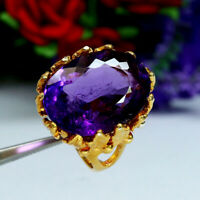 NATURAL 17 X 22 mm. OVAL PURPLE AMETHYST RING 925 STERLING SILVER SZ 6.5