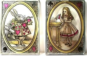 2 Vtg ALICE IN WONDERLAND STAINED PAINTINGS Glass Panels