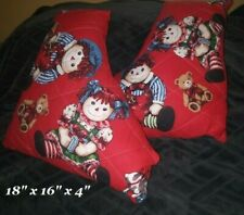 """Large Raggedy Ann & Andy Doll pillow set Chirstmas holiday pillows set 18""""x16"""""""
